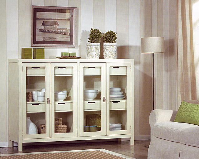 Aparador colonial borneo cristal blanco no disponible en for Muebles rusticos blancos