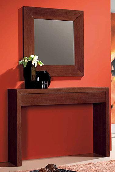Consola y espejo roble con caj n en for Espejos para consolas
