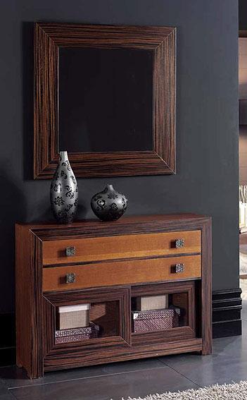 Consola y espejo roble y bano no disponible en for Muebles de ebano