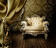 Cuadro 3D alto brillo sillón capitoné con espejo