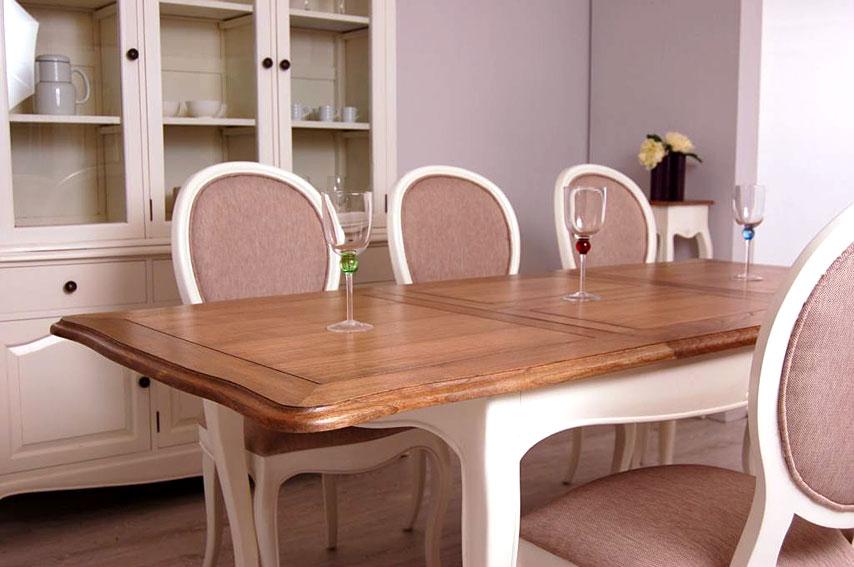 Mesa de comedor extensible bicolor vintage par s for Paris muebles comedor