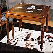 Mesa de Juegos cuadrada clásica con tapa de piel