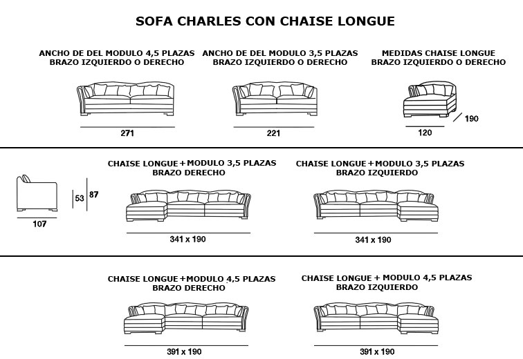 Sofa with chaise longue charles living rooms sofas for Sofa 4 plazas medidas