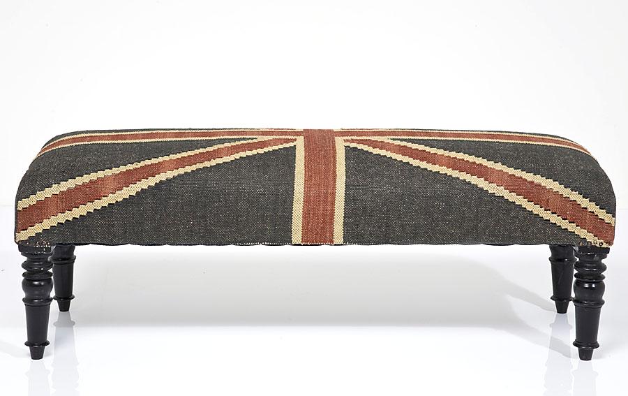Taburete pie de cama british jute de lujo en for Taburete pie de cama