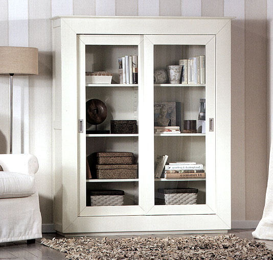 Vitrina colonial recta blanca no disponible en for Muebles rusticos blancos